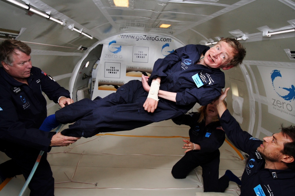 Stephen Hawking on his 65th birthday. He took a simulated zero-g flight to help publicize the possibility of commercial space travel.